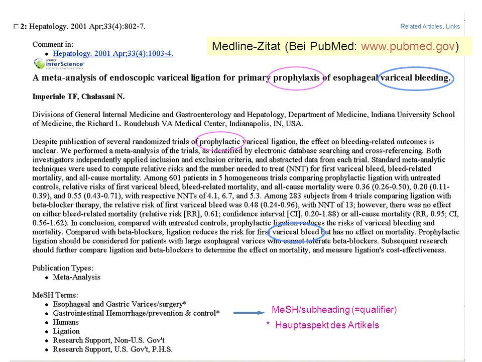 MeSH/subheading (=qualifier) * Hauptaspekt des Artikels Medline-Zitat (Bei PubMed: www.pubmed.gov)