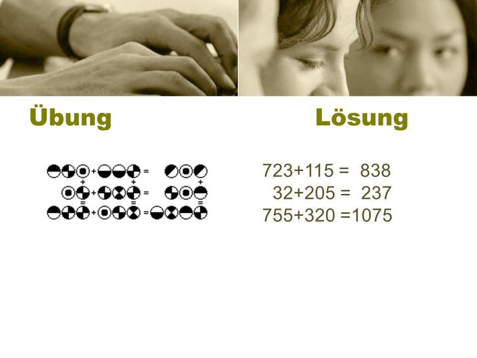 ÜbungLösung 723+115 = 838 32+205 = 237 755+320 =1075