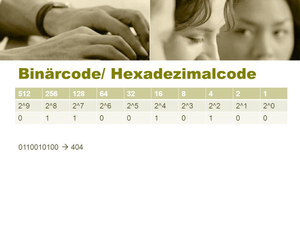 Binärcode/ Hexadezimalcode 5122561286432168421 2^92^82^72^62^52^42^32^22^12^0 0110010100 0110010100 404