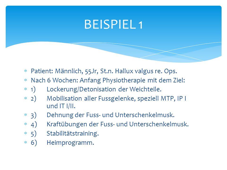 Patient: Männlich, 55Jr, St.n.Hallux valgus re. Ops.