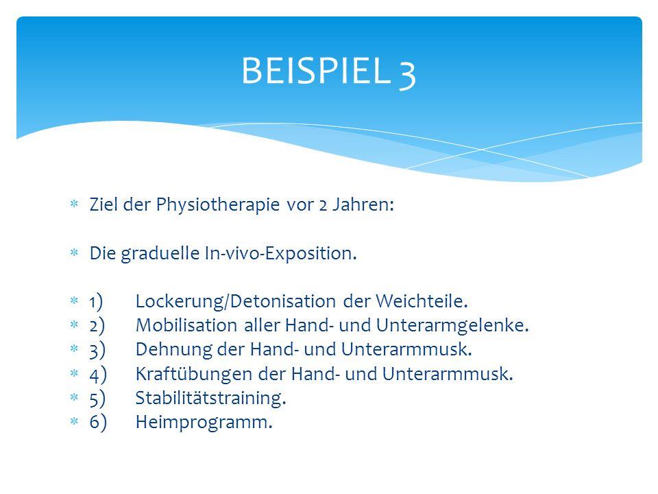 Ziel der Physiotherapie vor 2 Jahren: Die graduelle In-vivo-Exposition.