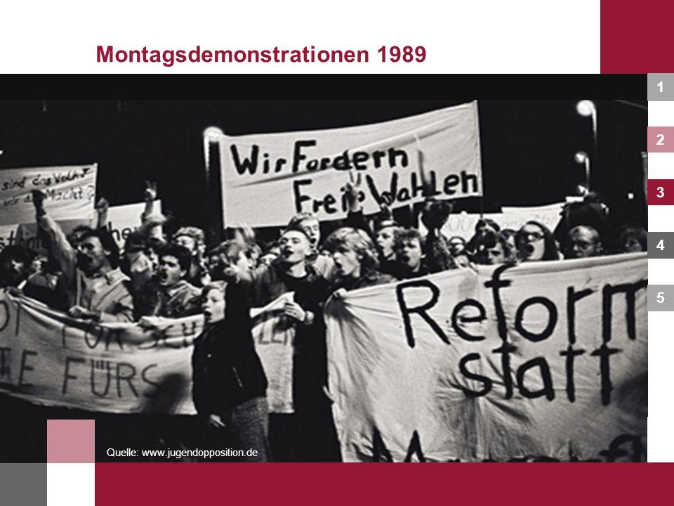 1 2 3 4 5 Mit dem Begriff Montagsdemonstrationen verbinde ich … Montagsdemonstrationen 1989 Formuliert Fragen und leitet Problemstellungen ab, zu denen ihr arbeitet!