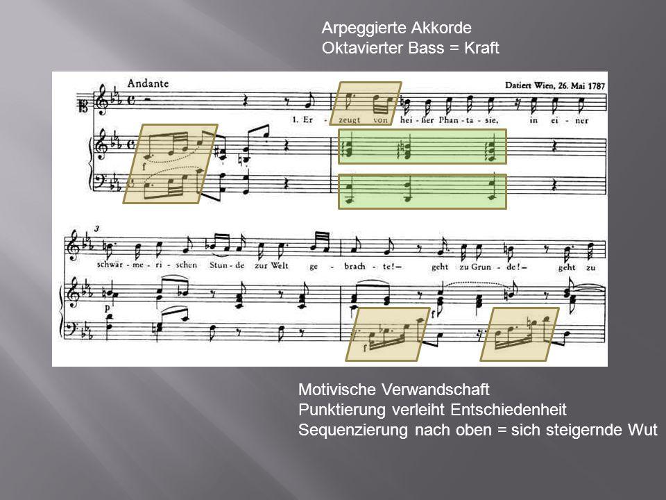 Motivische Verwandschaft Punktierung verleiht Entschiedenheit Sequenzierung nach oben = sich steigernde Wut Arpeggierte Akkorde Oktavierter Bass = Kra