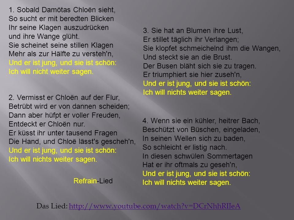 Das Lied: http://www.youtube.com/watch?v=DCrNhhRIJeAhttp://www.youtube.com/watch?v=DCrNhhRIJeA 1.