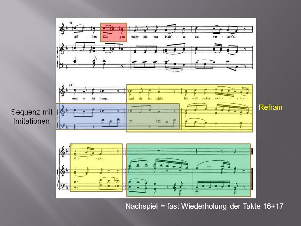 Refrain Nachspiel = fast Wiederholung der Takte 16+17 Sequenz mit Imitationen