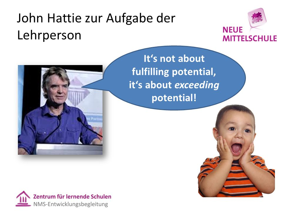 John Hattie zur Aufgabe der Lehrperson Its not about fulfilling potential, its about exceeding potential!