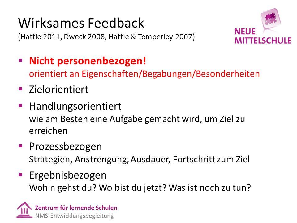 Wirksames Feedback (Hattie 2011, Dweck 2008, Hattie & Temperley 2007) Nicht personenbezogen! orientiert an Eigenschaften/Begabungen/Besonderheiten Zie