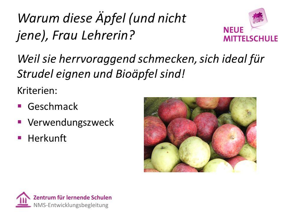 Warum diese Äpfel (und nicht jene), Frau Lehrerin? Weil sie herrvoraggend schmecken, sich ideal für Strudel eignen und Bioäpfel sind! Kriterien: Gesch