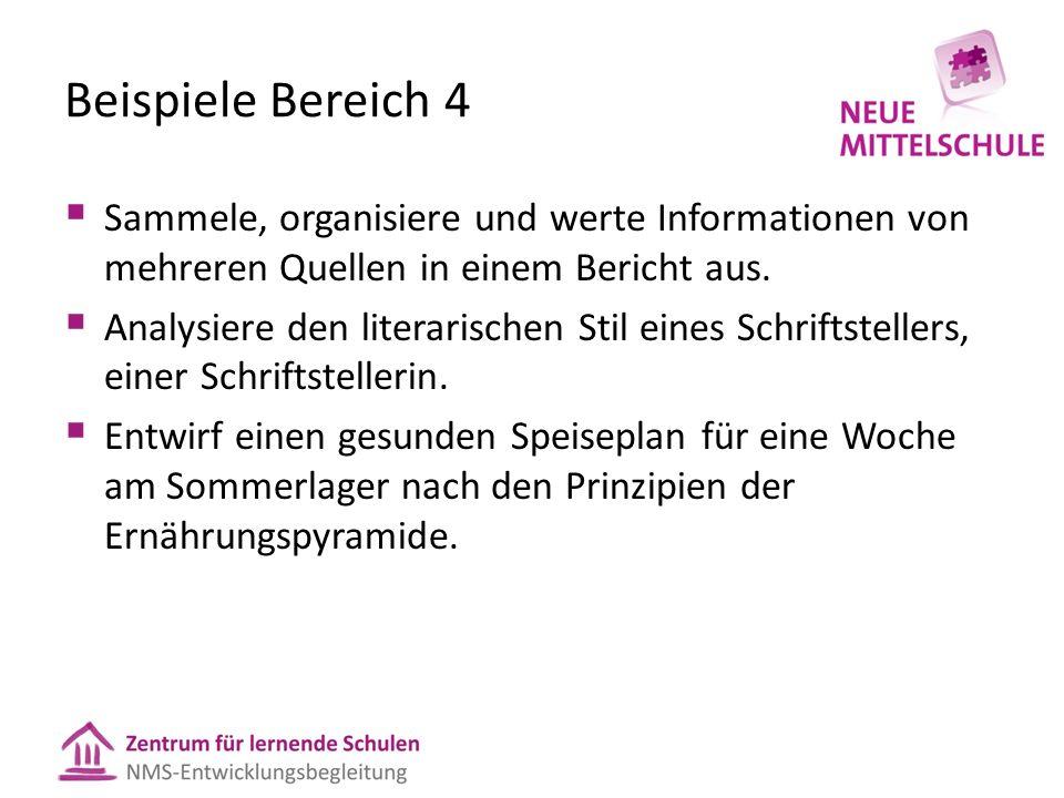Beispiele Bereich 4 Sammele, organisiere und werte Informationen von mehreren Quellen in einem Bericht aus. Analysiere den literarischen Stil eines Sc