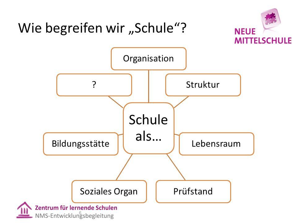 Wie begreifen wir Schule? 6 Schule als… OrganisationStrukturLebensraumPrüfstandSoziales OrganBildungsstätte?