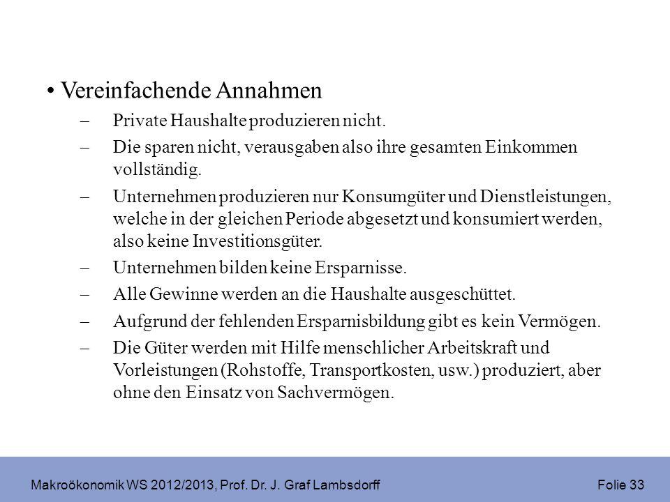 Makroökonomik WS 2012/2013, Prof. Dr. J. Graf Lambsdorff Folie 33 Vereinfachende Annahmen Private Haushalte produzieren nicht. Die sparen nicht, verau