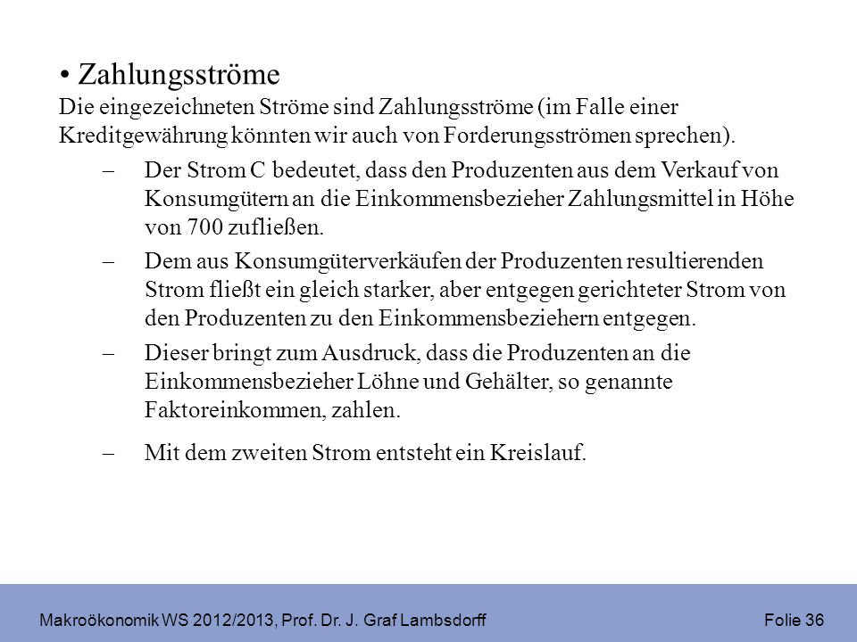 Makroökonomik WS 2012/2013, Prof. Dr. J. Graf Lambsdorff Folie 36 Zahlungsströme Die eingezeichneten Ströme sind Zahlungsströme (im Falle einer Kredit