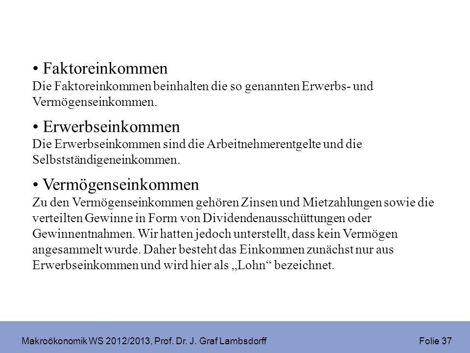Makroökonomik WS 2012/2013, Prof. Dr. J. Graf Lambsdorff Folie 37 Faktoreinkommen Die Faktoreinkommen beinhalten die so genannten Erwerbs- und Vermöge