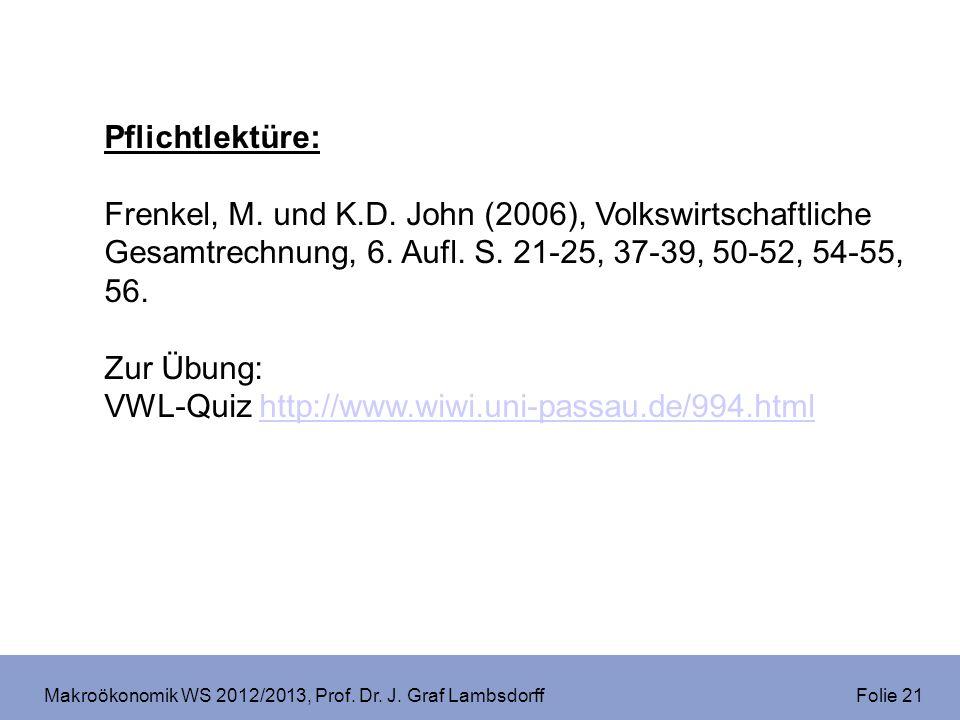 Makroökonomik WS 2012/2013, Prof. Dr. J. Graf Lambsdorff Folie 21 Pflichtlektüre: Frenkel, M. und K.D. John (2006), Volkswirtschaftliche Gesamtrechnun
