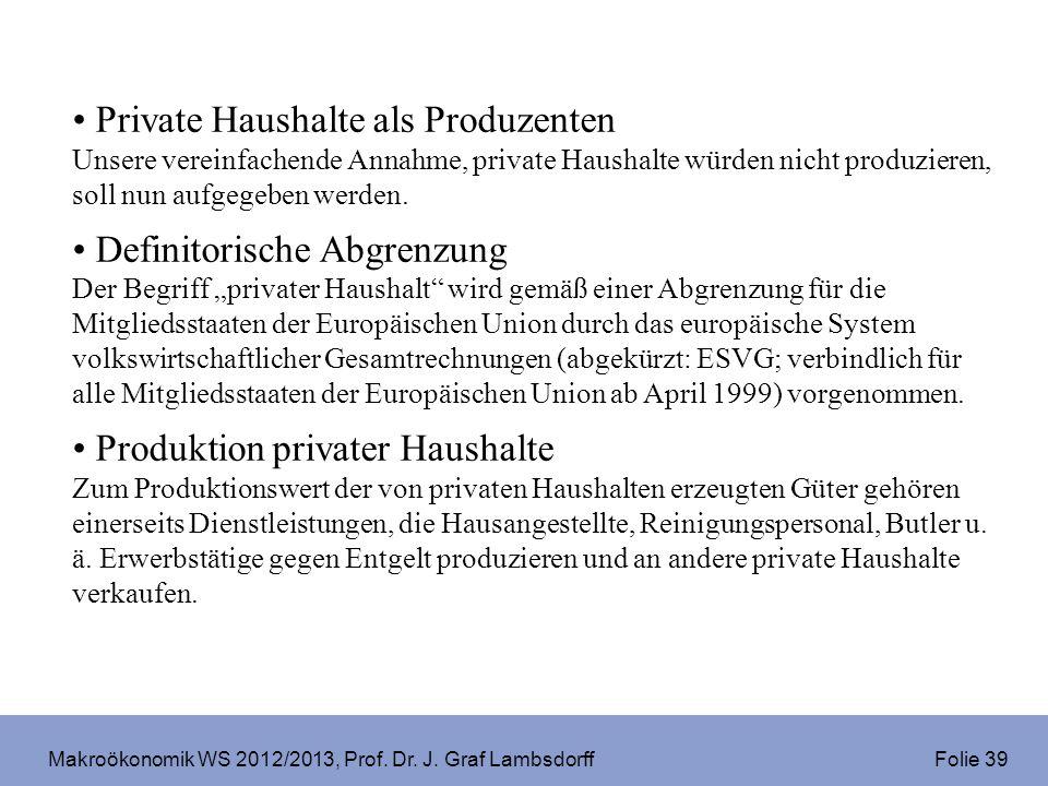 Makroökonomik WS 2012/2013, Prof. Dr. J. Graf Lambsdorff Folie 39 Private Haushalte als Produzenten Unsere vereinfachende Annahme, private Haushalte w