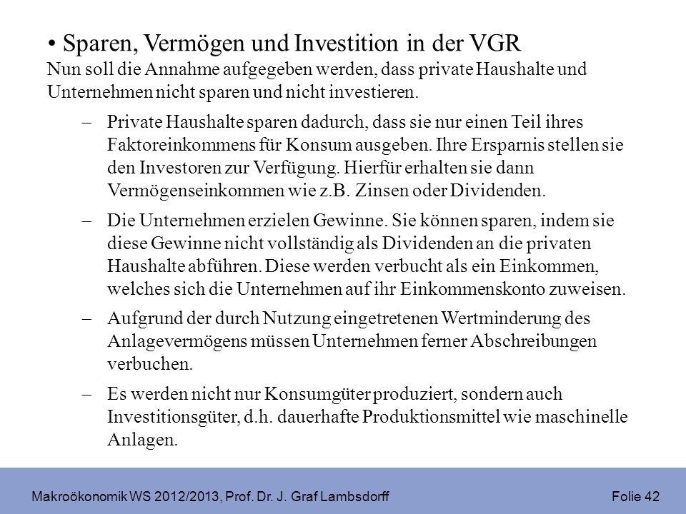 Makroökonomik WS 2012/2013, Prof. Dr. J. Graf Lambsdorff Folie 42 Sparen, Vermögen und Investition in der VGR Nun soll die Annahme aufgegeben werden,