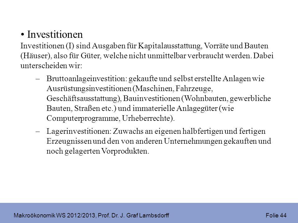 Makroökonomik WS 2012/2013, Prof. Dr. J. Graf Lambsdorff Folie 44 Investitionen Investitionen (I) sind Ausgaben für Kapitalausstattung, Vorräte und Ba