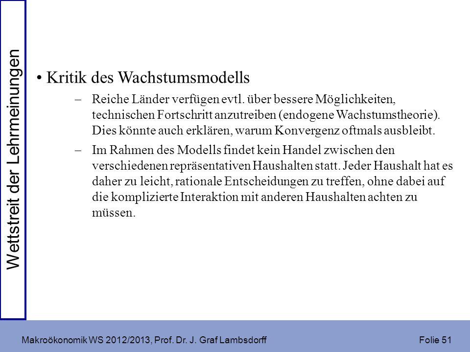 Makroökonomik WS 2012/2013, Prof. Dr. J. Graf Lambsdorff Folie 51 Kritik des Wachstumsmodells Reiche Länder verfügen evtl. über bessere Möglichkeiten,