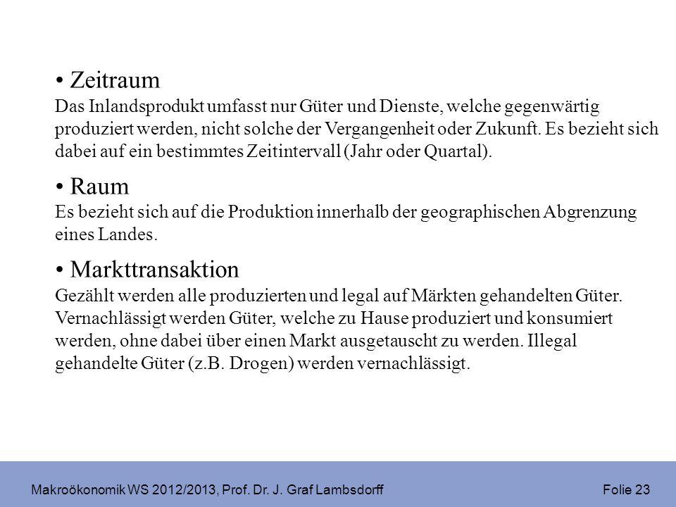 Makroökonomik WS 2012/2013, Prof. Dr. J. Graf Lambsdorff Folie 23 Zeitraum Das Inlandsprodukt umfasst nur Güter und Dienste, welche gegenwärtig produz