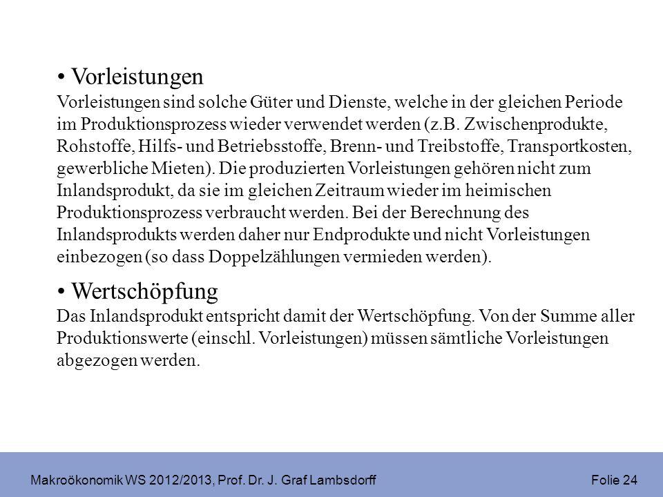 Makroökonomik WS 2012/2013, Prof. Dr. J. Graf Lambsdorff Folie 24 Vorleistungen Vorleistungen sind solche Güter und Dienste, welche in der gleichen Pe