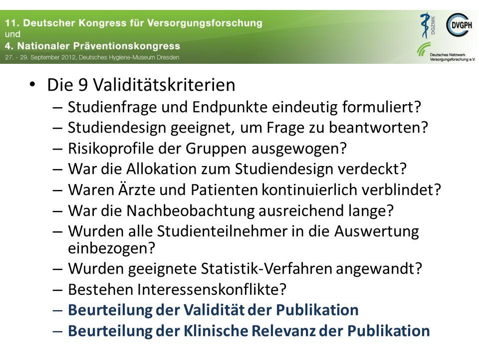 Die 9 Validitätskriterien – Studienfrage und Endpunkte eindeutig formuliert.