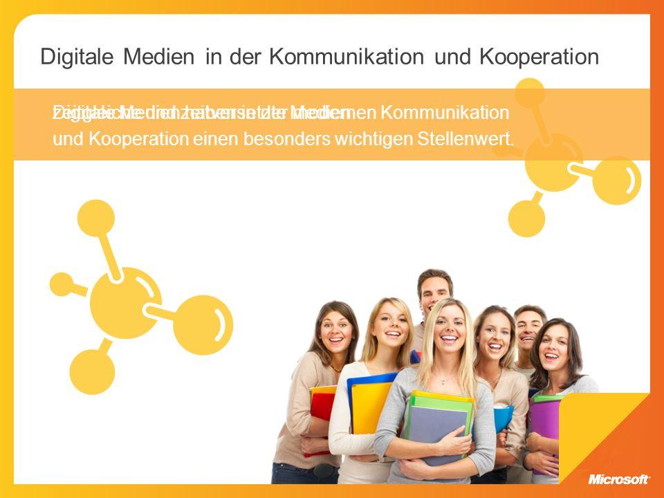 Digitale Medien haben in der modernen Kommunikation und Kooperation einen besonders wichtigen Stellenwert. zeitgleiche und zeitversetzte Medien Digita