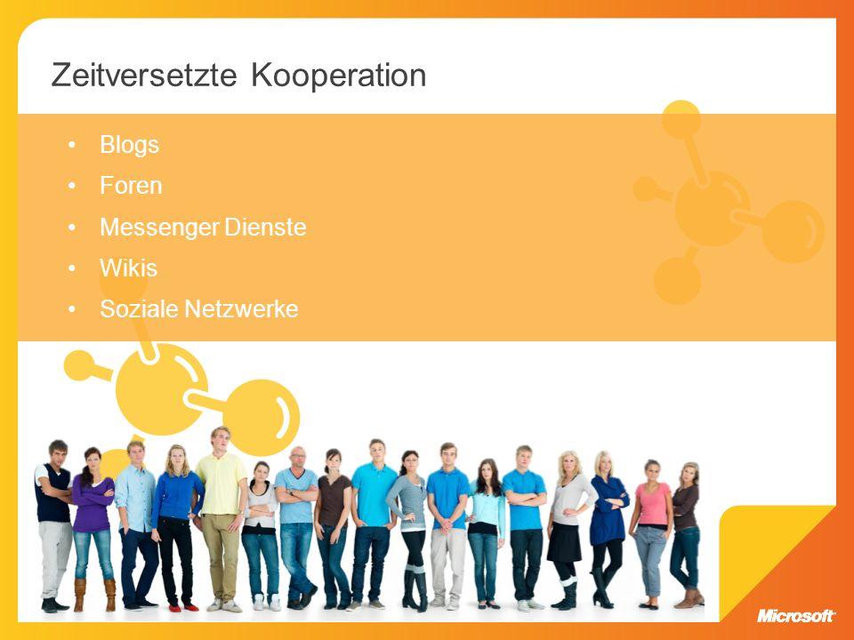 Blogs Foren Messenger Dienste Wikis Soziale Netzwerke Zeitversetzte Kooperation
