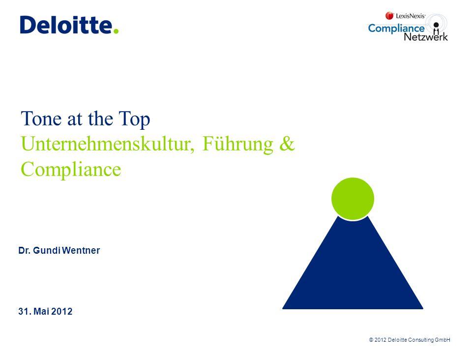 © 2012 Deloitte Consulting GmbH Tone at the Top Unternehmenskultur, Führung & Compliance 31. Mai 2012 Dr. Gundi Wentner