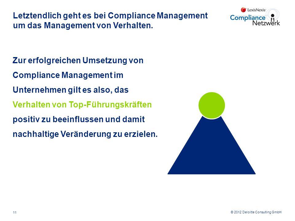© 2012 Deloitte Consulting GmbH Letztendlich geht es bei Compliance Management um das Management von Verhalten. Zur erfolgreichen Umsetzung von Compli