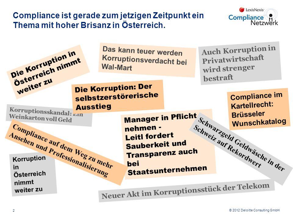 © 2012 Deloitte Consulting GmbH Das kann teuer werden Korruptionsverdacht bei Wal-Mart Compliance ist gerade zum jetzigen Zeitpunkt ein Thema mit hohe