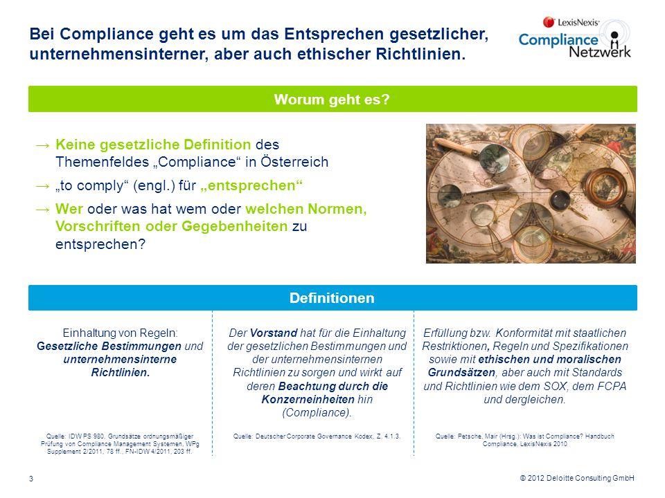 © 2012 Deloitte Consulting GmbH Bei Compliance geht es um das Entsprechen gesetzlicher, unternehmensinterner, aber auch ethischer Richtlinien. 3 Defin