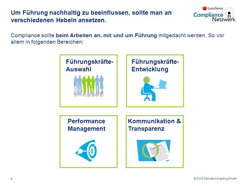 © 2012 Deloitte Consulting GmbH Um Führung nachhaltig zu beeinflussen, sollte man an verschiedenen Hebeln ansetzen. Compliance sollte beim Arbeiten an