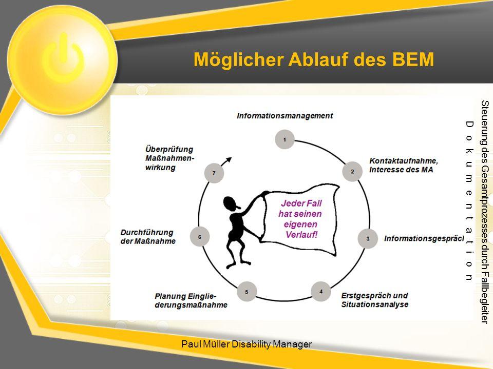 Paul Müller Disability Manager Möglicher Ablauf des BEM Steuerung des Gesamtprozesses durch Fallbegleiter D o k u m e n t a t i o n