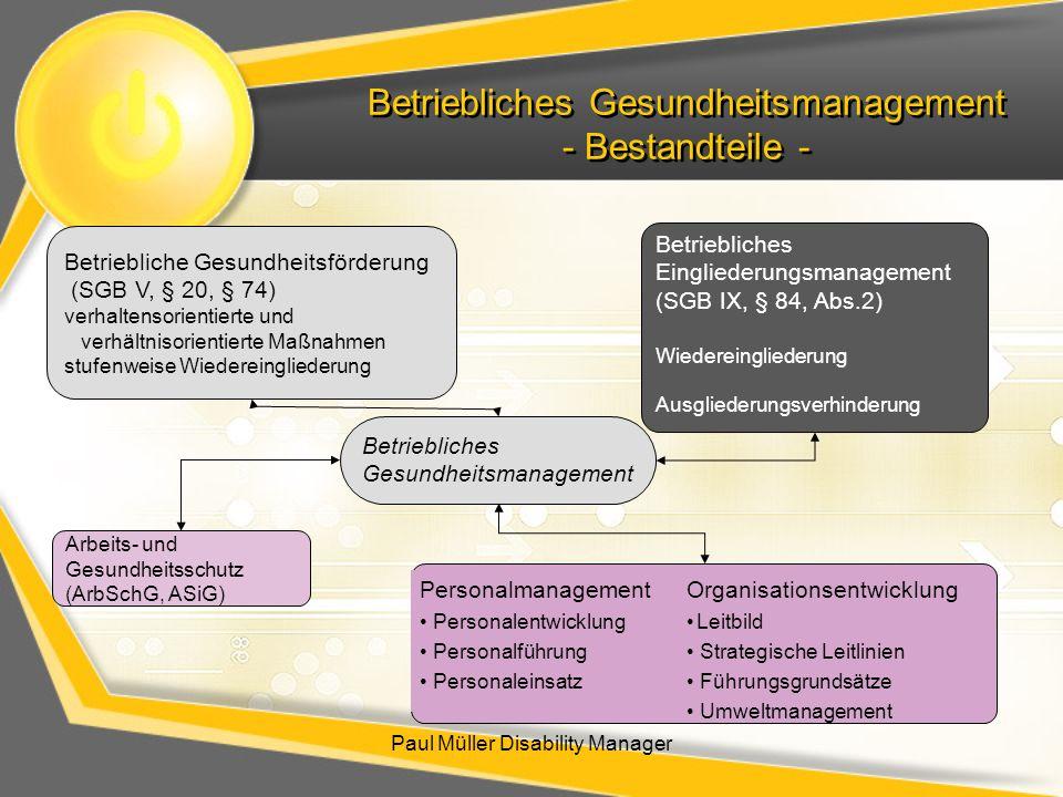 Betriebliches Gesundheitsmanagement - Bestandteile - Paul Müller Disability Manager Betriebliches Gesundheitsmanagement Betriebliche Gesundheitsförder