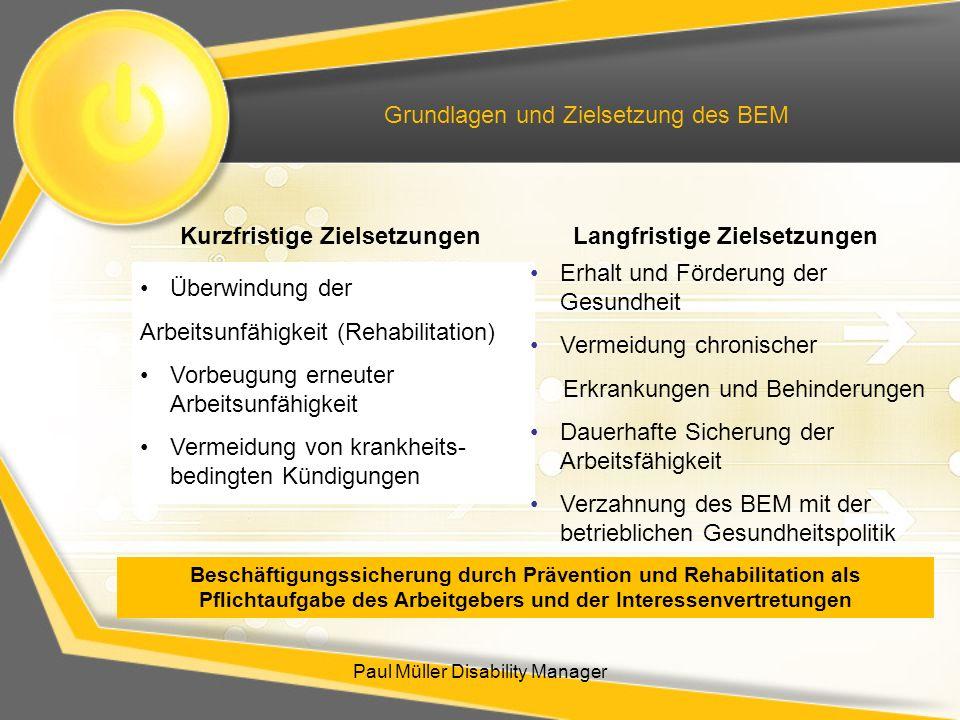 Paul Müller Disability Manager Grundlagen und Zielsetzung des BEM Überwindung der Arbeitsunfähigkeit (Rehabilitation) Vorbeugung erneuter Arbeitsunfäh