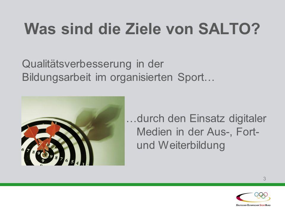 3 …durch den Einsatz digitaler Medien in der Aus-, Fort- und Weiterbildung Was sind die Ziele von SALTO? Qualitätsverbesserung in der Bildungsarbeit i