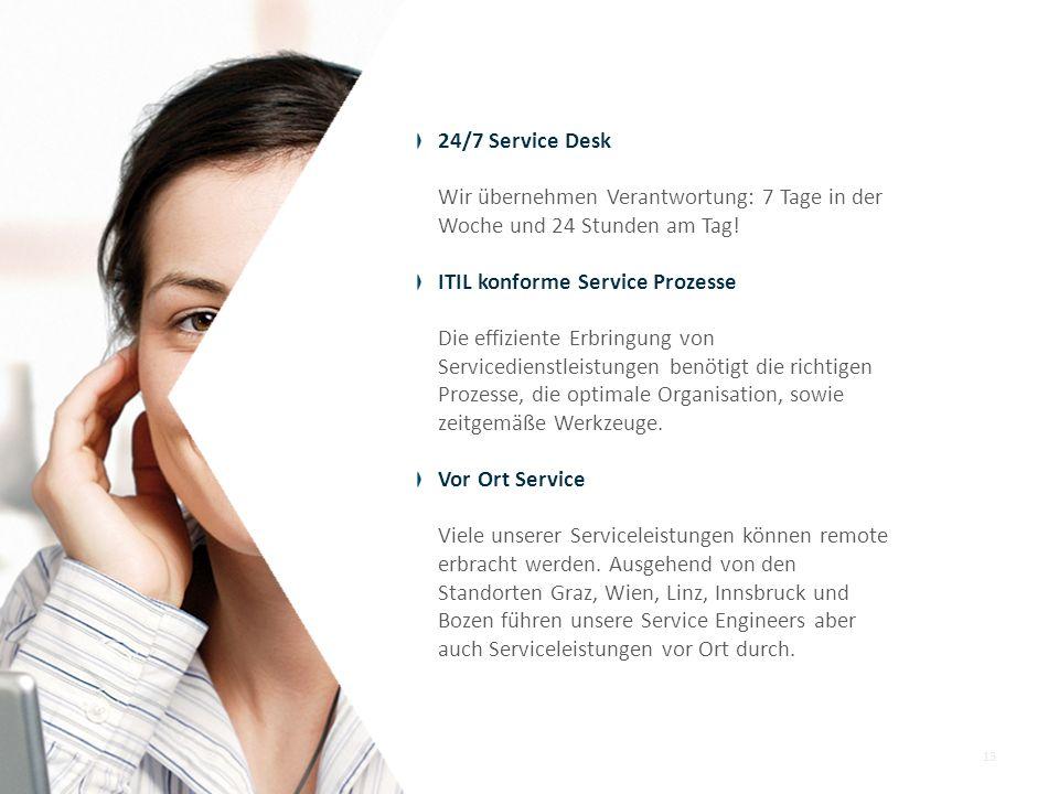 24/7 Service Desk Wir übernehmen Verantwortung: 7 Tage in der Woche und 24 Stunden am Tag! ITIL konforme Service Prozesse Die effiziente Erbringung vo