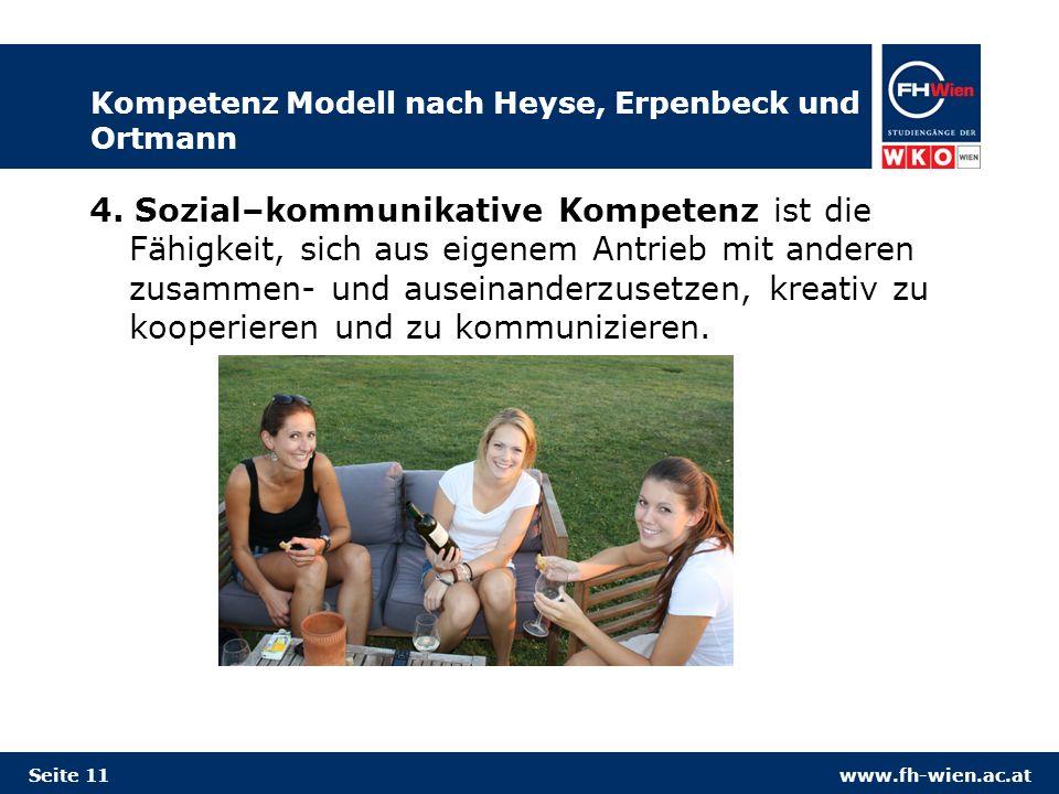 www.fh-wien.ac.at Kompetenz Modell nach Heyse, Erpenbeck und Ortmann 4. Sozial–kommunikative Kompetenz ist die Fähigkeit, sich aus eigenem Antrieb mit