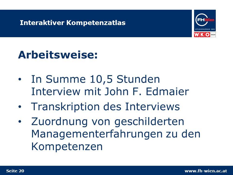 www.fh-wien.ac.atSeite 20 Interaktiver Kompetenzatlas Arbeitsweise: In Summe 10,5 Stunden Interview mit John F. Edmaier Transkription des Interviews Z