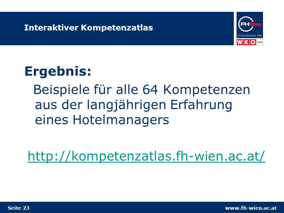 www.fh-wien.ac.atSeite 23 Interaktiver Kompetenzatlas Ergebnis: Beispiele für alle 64 Kompetenzen aus der langjährigen Erfahrung eines Hotelmanagers h