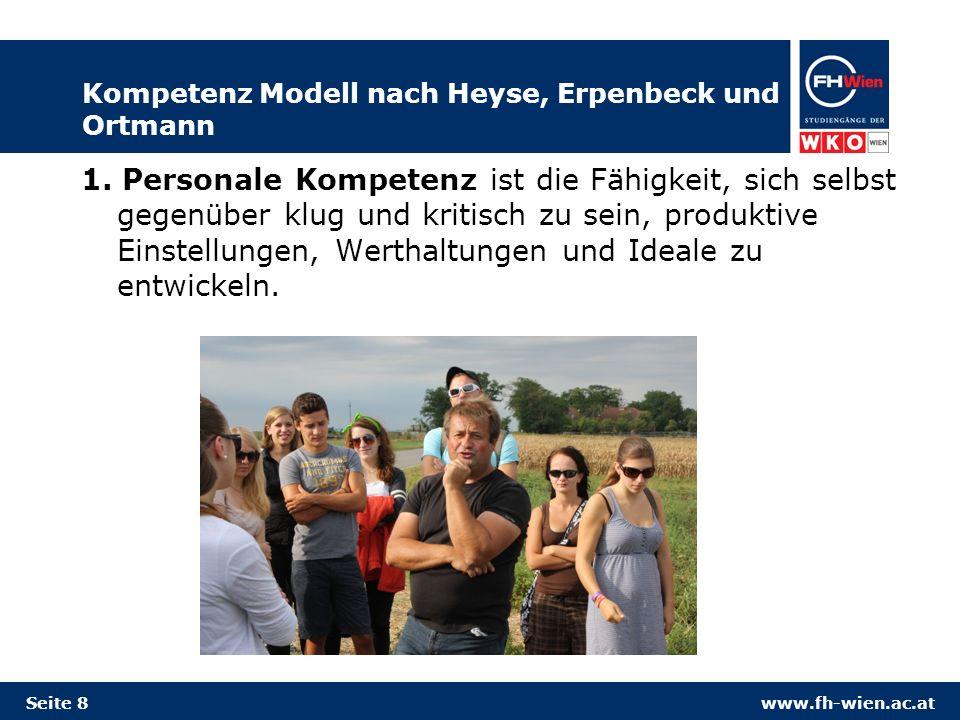 www.fh-wien.ac.at Kompetenz Modell nach Heyse, Erpenbeck und Ortmann 1. Personale Kompetenz ist die Fähigkeit, sich selbst gegenüber klug und kritisch
