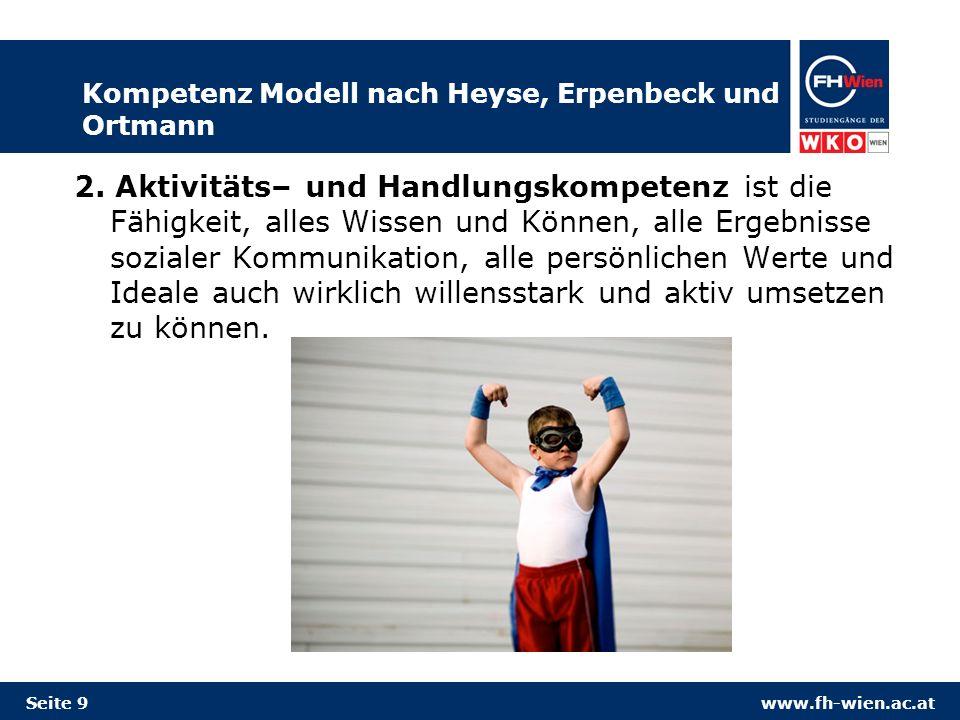 www.fh-wien.ac.at Kompetenz Modell nach Heyse, Erpenbeck und Ortmann 2. Aktivitäts– und Handlungskompetenz ist die Fähigkeit, alles Wissen und Können,