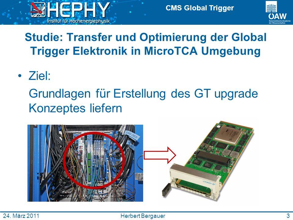 CMS Global Trigger Herbert Bergauer24. März 2011 Studie: Transfer und Optimierung der Global Trigger Elektronik in MicroTCA Umgebung Ziel: Grundlagen
