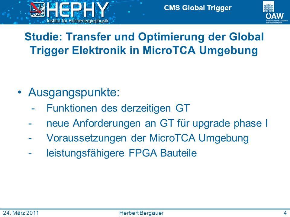 CMS Global Trigger 4Herbert Bergauer24. März 2011 Studie: Transfer und Optimierung der Global Trigger Elektronik in MicroTCA Umgebung Ausgangspunkte: