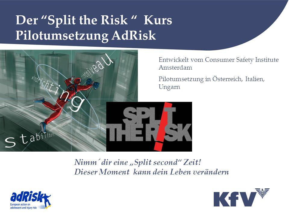 Der Split the Risk Kurs Pilotumsetzung AdRisk Entwickelt vom Consumer Safety Institute Amsterdam Pilotumsetzung in Österreich, Italien, Ungarn Nimm´ dir eine Split second Zeit.
