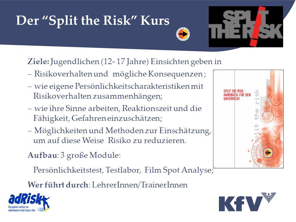 Der Split the Risk Kurs Ziele: Jugendlichen (12- 17 Jahre) Einsichten geben in Risikoverhalten und mögliche Konsequenzen ; wie eigene Persönlichkeitsc