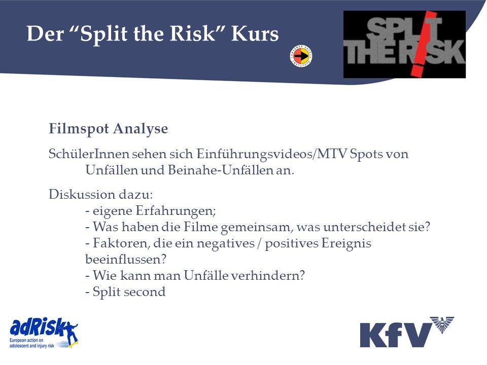 Der Split the Risk Kurs Filmspot Analyse SchülerInnen sehen sich Einführungsvideos/MTV Spots von Unfällen und Beinahe-Unfällen an. Diskussion dazu: -