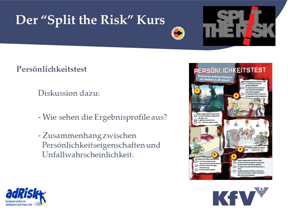 Der Split the Risk Kurs Persönlichkeitstest Diskussion dazu: - Wie sehen die Ergebnisprofile aus.