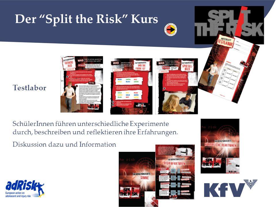 Der Split the Risk Kurs Testlabor SchülerInnen führen unterschiedliche Experimente durch, beschreiben und reflektieren ihre Erfahrungen. Diskussion da
