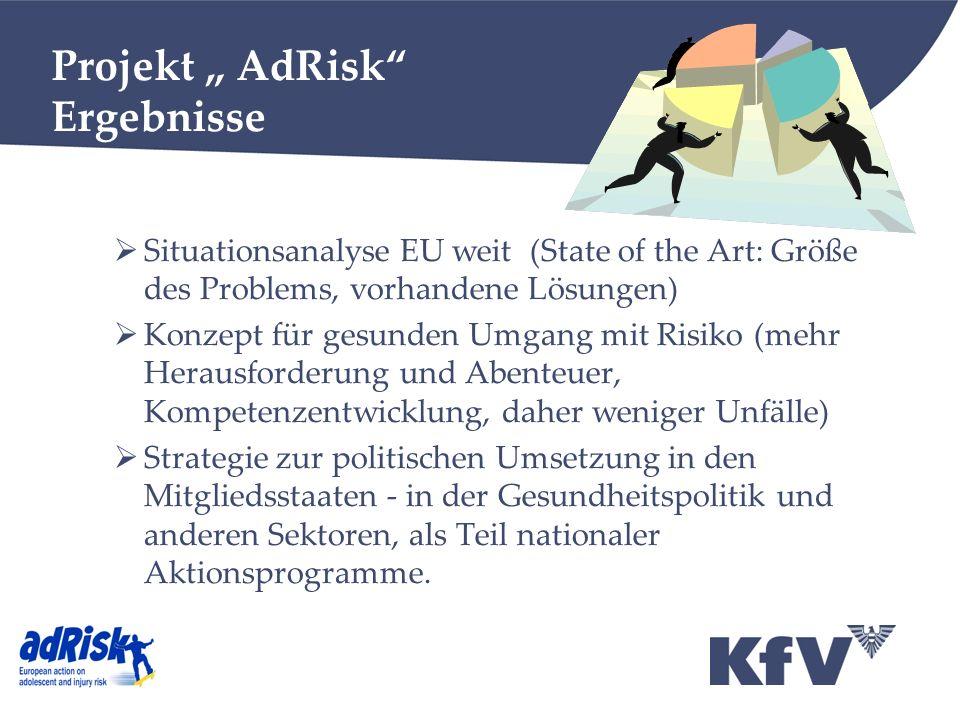 Projekt AdRisk Ergebnisse Situationsanalyse EU weit (State of the Art: Größe des Problems, vorhandene Lösungen) Konzept für gesunden Umgang mit Risiko